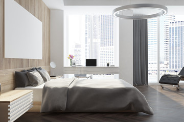 Panoramic wooden bedroom with poster
