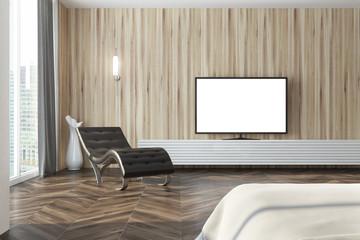 Wooden living room, tv set