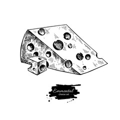 Emmental cheese drawing. Vector hand drawn food sketch. Engraved triangle slice and cube cut