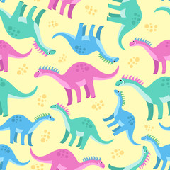 Cute colorful seamless pattern with dinosaurs on yellow background. Bright background for kids. Vector illustration for textile manufacturing, notebooks etc