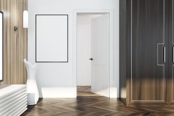White and wooden living room, door
