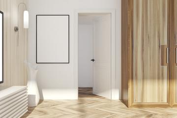 White and light wooden living room, door