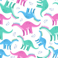 Cute colorful seamless pattern with dinosaurs on white background. Bright background for kids. Vector illustration for textile manufacturing, notebooks etc