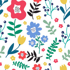 Seamless colorful floral pattern with wild flowers on white background. Simple scandinavian style. Vector illustration