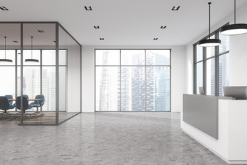 White office, reception desk