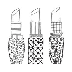 Set of lipstick in zentangle style. Coloring book page for adult. Black and white patterns. Girl's accessyare.