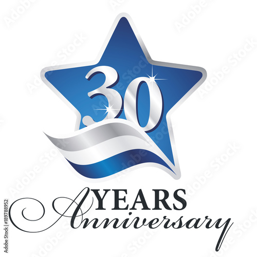30 years anniversary isolated blue star flag logo icon stock image