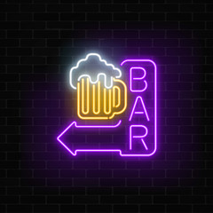 Glowing neon beer bar signboard with arrow on dark brick wall background. Luminous advertising sign