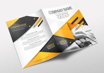 Brochure Cover Layout with Gray and Orange Accents 25