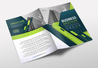 Brochure Cover Layout with Blue and Green Accents 9