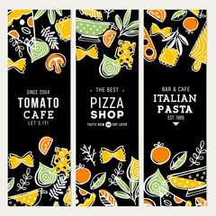 Doodle food chalkboard banner collection. Pizza and pasta illustration. Vector illustration