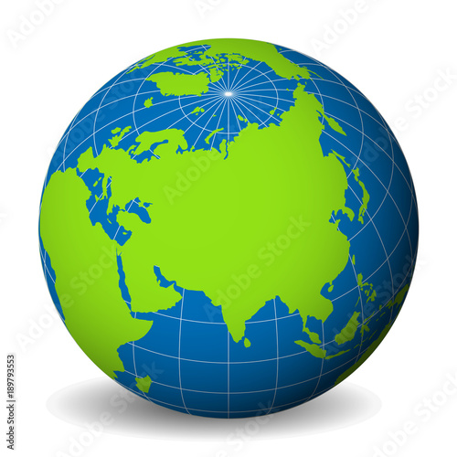 Earth globe with green world map and blue seas and oceans focused earth globe with green world map and blue seas and oceans focused on asia with gumiabroncs Image collections