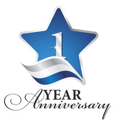 1 year anniversary isolated blue star flag logo icon