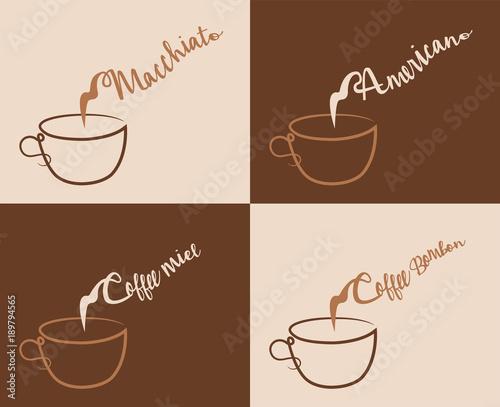 Coffee Types With Steam Menu\