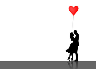 Romantic silhouette of loving couple. Valentines Day 14 February. Happy Lovers. Vector illustration isolated or white background