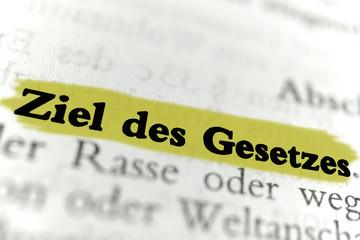 Ziel des Gesetzes - gelb markierter Text