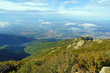 View from the massif des Alberes over the Roussillon plain, Pyrenees Orientales, Roussillon, France