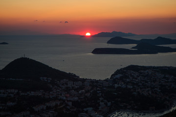 Scenic view of Dubrovnik in Croatia from above at sunset.