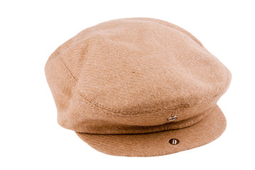 Brown Colored Newsboy Cap with Open Snap on Brim