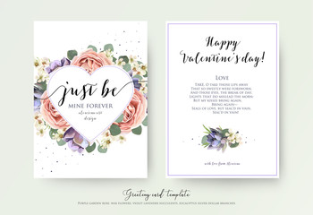 Vector floral card design with watercolor lavender garden pink rose,  violet succulents, eucalyptus branches and leaves. Lovely Valentine day greeting, invite, postcard. Heart shape frame & text space