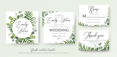 Wedding Invitation, floral invite, thank you, rsvp modern card Design: green tropical palm leaf greenery, eucalyptus branches, foliage decorative frame print. Vector elegant watercolor rustic template Fototapete