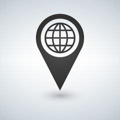 Map pointer with earth globe icon. Vector illustration.