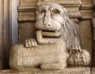 Details of the west portal  Saint Trophime Cathedral in Arles, France. Bouches-du-Rhone,  France