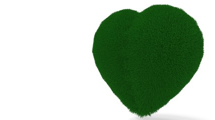 Heart background covered with grass, 3d rendering