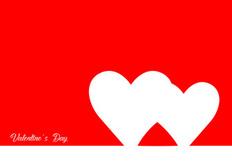 Valentine's Day with red heart, line style , vector isolated or red background