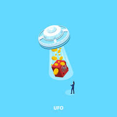 UFO takes all the money together with the safe in the man in a business suit, an isometric image
