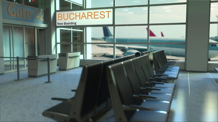 Bucharest flight boarding now in the airport terminal. Travelling to Romania conceptual 3D rendering