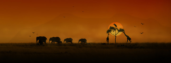 Wall Mural - African Animals Sunset Silhouette Banner