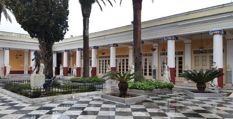 CORFU, GREECE- January 21, 2018: The Terrace in the Garden in Achilleion Palace, in Corfu island, Greece