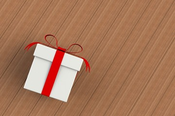 Christmas and New Year's Day ,red white gift box isolated on wooden board, 3D rendering