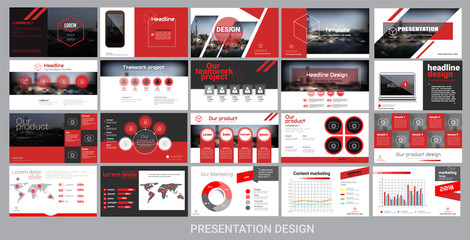 presentation template for promotion, advertising, flyer, brochure, product, report, banner, business, modern style on black and red background. vector illustration Wall mural