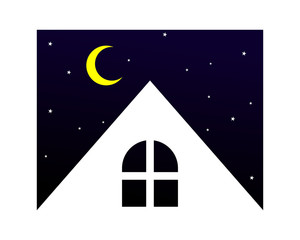 night residence residential home house housing image vector icon logo