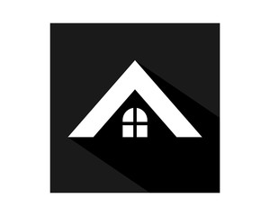 black rectangle white roof residence residential home house housing image vector icon logo