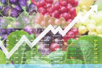 Economic investment successful on Agricultural product analysis report to stock market with data and graph background.