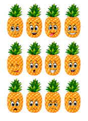 pineapple with different emoticons