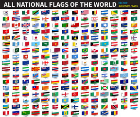All official national flags of the world . Adhesive design . Vector