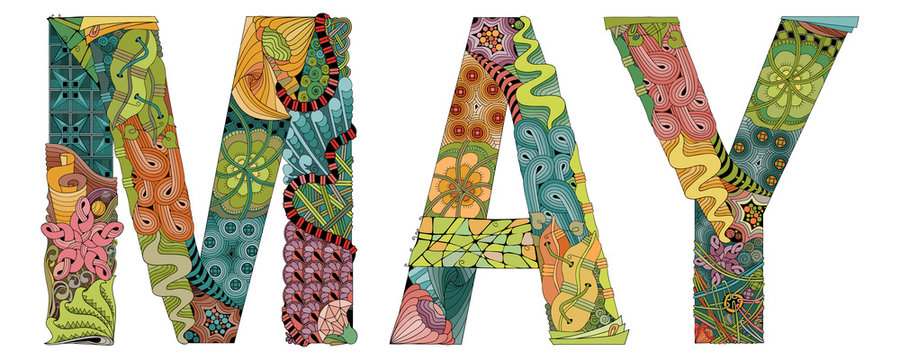 Word MAY. Vector decorative zentangle object