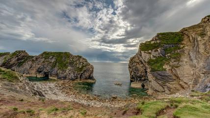 Stair Hole at Lulworth Cove on Dorset's Jurassic Coast, England,