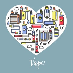 Vape products promotional poster with modern devices