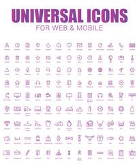 Universal icons set. Minimal Thin Line icon set