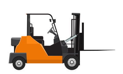 Vector Forklift mock up side view. Solid and flat color design.