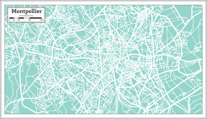 Montpellier France City Map in Retro Style. Outline Map.
