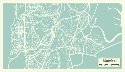 Mumbai India City Map in Retro Style. Outline Map.