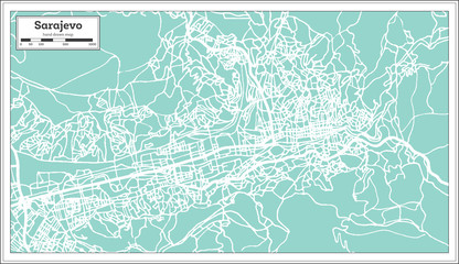 Sarajevo Bosnia and Herzegovina City Map in Retro Style. Outline Map.