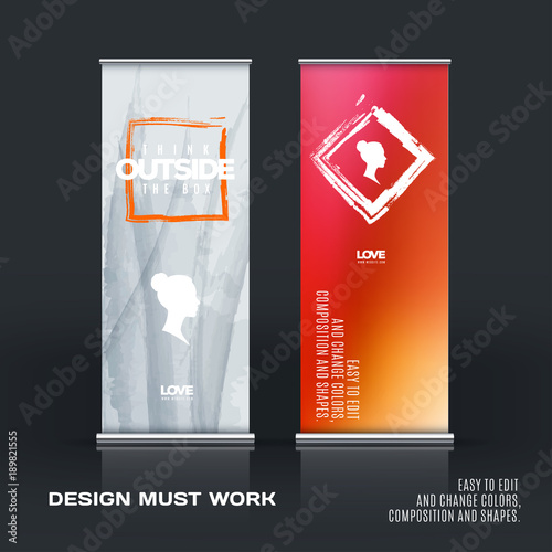 Business Vector Set Of Modern Roll Up Banner Stand Design With Best Artistic Displays Banner Stands