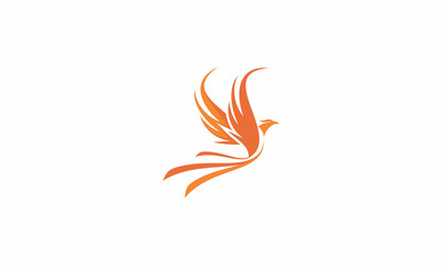phoenix, sun, bird, fire, fly, emblem symbol icon vector logo